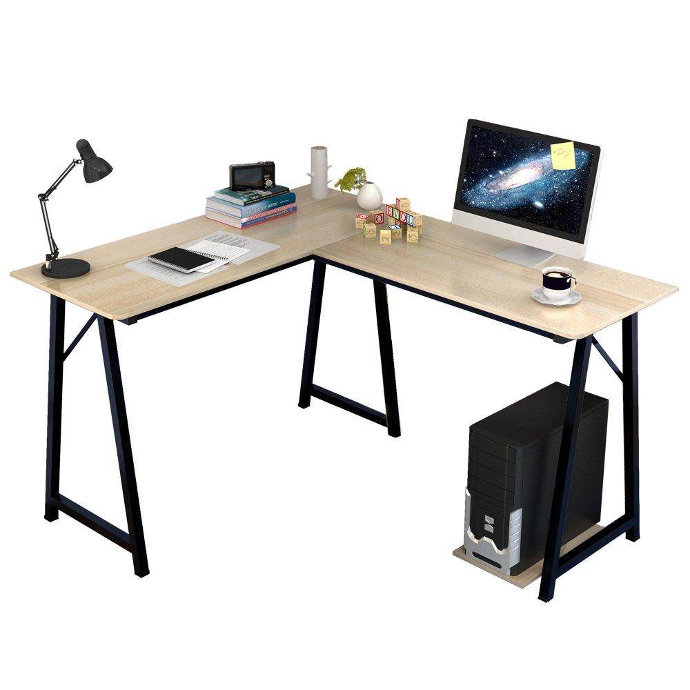 Soges Eckschreibtisch (120+90) x 48 x 75cm L Schreibtisch Winkelschreibtisch PC Bürotisch Computertisch Arbeitstisch, weißen Ahornfarben 701T-WM