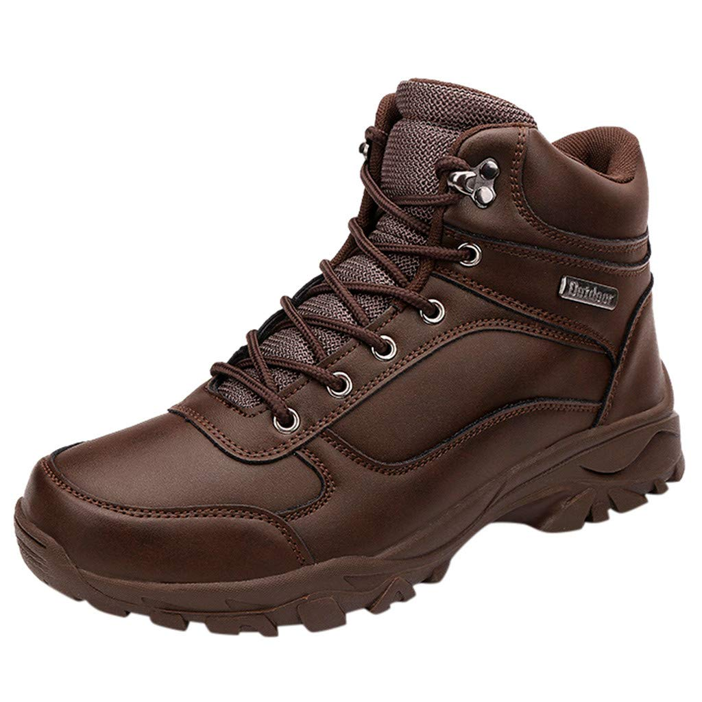 〓COOlCCI〓Men's Mid Waterproof Ankle Boot, Waterproof Hiking Boot Lace up Chelsea Boot Motorcycle & Combat Boot Safety Brown by COOlCCI_Men Shoes
