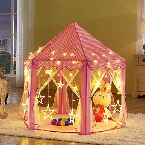 LULASI Kids Play Tent with Big Star Lighting Strip (Pink)