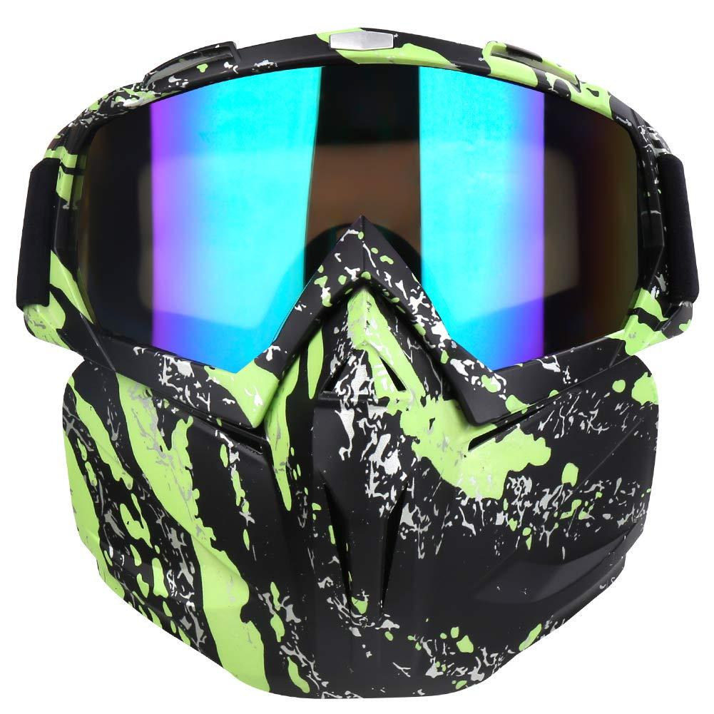 PiscatorZone Motorcycle Goggles Mask, Tactical Glasses with Detachable Mask Adjustable Windproof Outdoor Paintball Airsoft Mask Face Shield for Kids Men Women by PiscatorZone