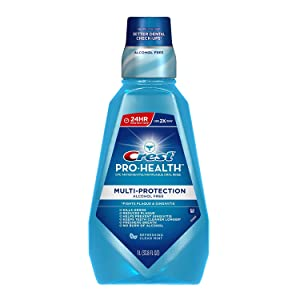 Crest Pro-health Multi-Protection Alcohol Free, Clean Mint/Clear Mint (Package may vary), 1-liter Bottles (Pack of 3)
