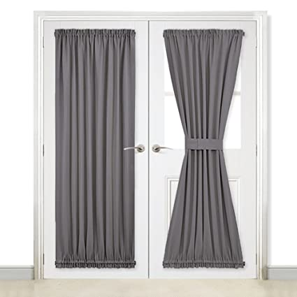 Superbe NICETOWN Grey French Door Curtains   Blackout Patio Door/Glass Door Curtain  Panel For Privacy