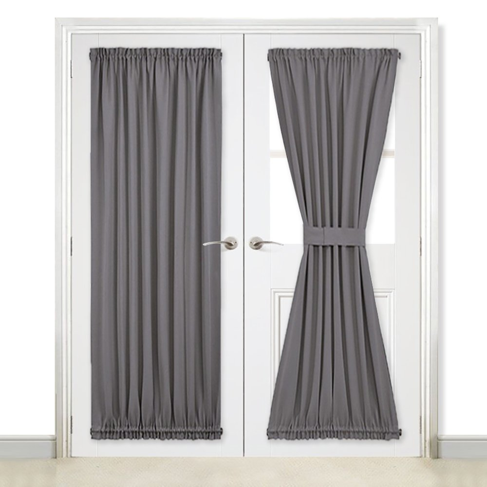 Nicetown grey french door curtains blackout patio door glass door curtain panel for privacy one piece w54 x l72 inch grey
