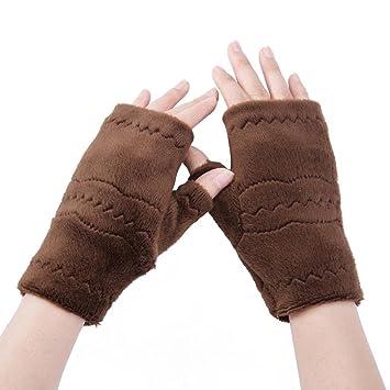Half Finger Fingerless Gloves Women Winter Wrist Arm Hand Warmer Plush Gloves