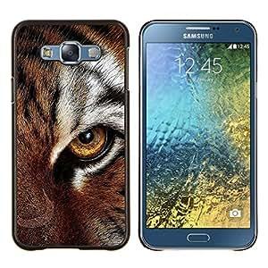 YiPhone /// Prima de resorte delgada de la cubierta del caso de Shell Armor - Ojo felino piel del tigre lindo gato grande Animal - Samsung Galaxy E7 E700