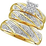 0.30 Carat (ctw) 10K Yellow Gold Round Cut Diamond Men & Women's Cluster Engagement Ring Trio Set 1/3 CT