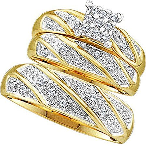 - Dazzlingrock Collection 0.30 Carat (ctw) 10K Diamond Men & Women's Engagement Ring Trio Set 1/3 CT, Yellow Gold