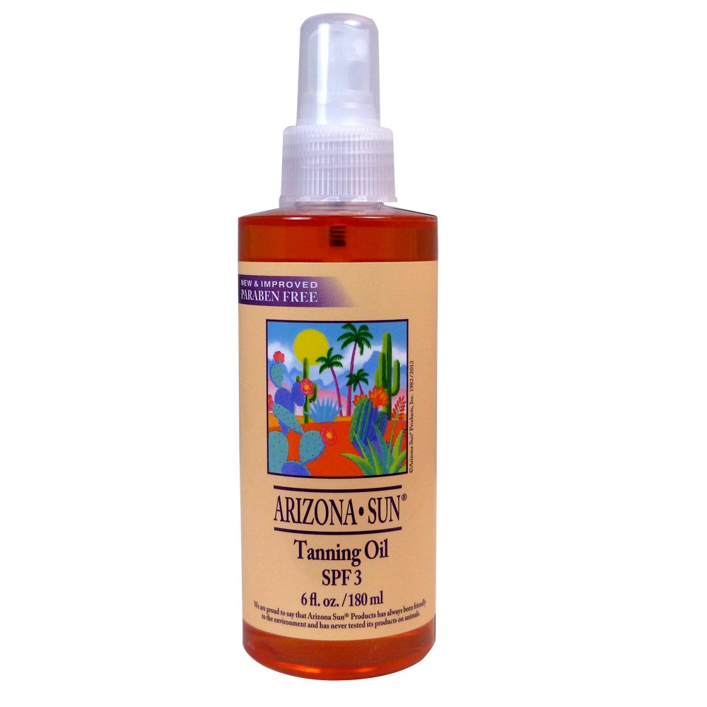 Arizona Sun Tanning Oil SPF 3 – 6 oz – Products with Aloe Vera and Plants and Cacti from The Desert – Moisturizing Mineral Oil – Deep Dark Tan