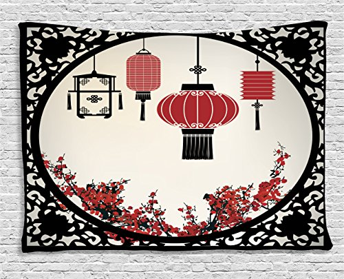 Tapestry Wall Asian (Ambesonne Asian Tapestry Wall Hanging, Lanterns with Japanese Sakura Cherry Blossom Trees and Round Ornate Figure Graphic, Bedroom Living Room Dorm Decor, 60 W X 40 L Inches, Red Beige Black)