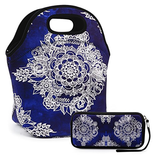 Lunch Bag Extra Large Insulated Lunch Box 13.5' x 13.5' x 7.5' Zipper Tote Bags With Wallte Pouch 6.5'L x 3.5H' (Navy Blue)