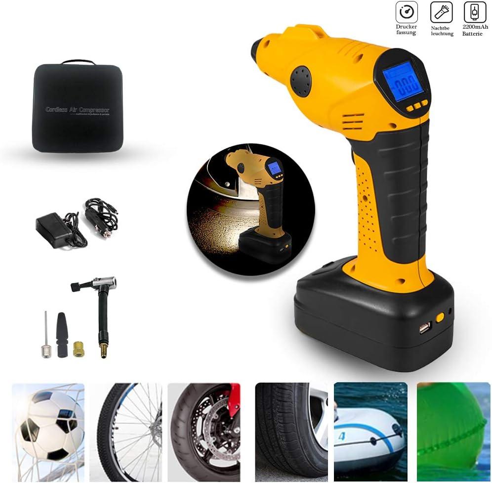 Pompa ad aria per auto compressore ad aria base di illuminazione ricaricabile pompa portatile per pneumatici manometro digitale con 3 valvole compressore elettrico con batteria 12 V display LCD
