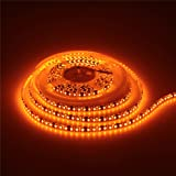 ALITOVE 16.4ft Orange LED Flexible Strip Light lamp 5M 600 LEDs 3528 SMD Waterproof IP65 12V DC Black PCB for home hotels clubs shopping malls cars decoration