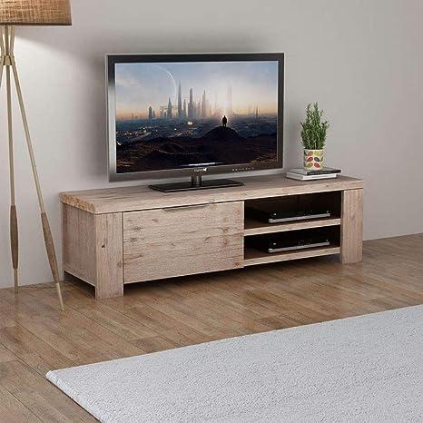Tidyard Mesa para TV Mueble TV Sal/ón Mesa Televisi/ón Mueble Comedor Televisor Bajo con 2 Puertas de Madera y 2 Compartimentos Estilo de R/ústico Roble Marr/ón 120x35x48cm