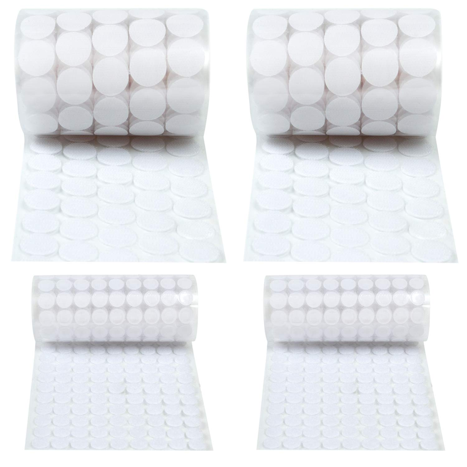 Elcoho 1800 Pieces Self Adhesive Dots Hook and Loop Self Adhesive White Nylon Waterproof Sticky Coins Dots Tapes(900 Pairs)
