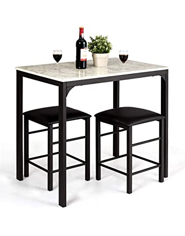 995755aeb9b0ab Giantex 3 Pcs Dining Table and Chairs Set with Faux Marble Tabletop 2 Chairs  Contemporary Dining