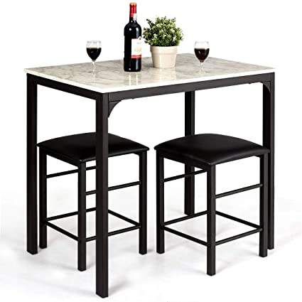 Giantex 3 Pcs Dining Table And Chairs Set With Faux Marble Tabletop 2 Chairs Contemporary Dining Table Set For Home Or Hotel Dining Room Kitchen Or