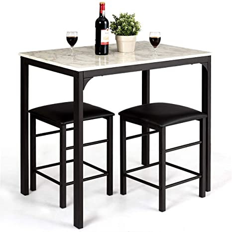 Giantex 3 Pcs Dining Table and Chairs Set with Faux Marble Tabletop 2  Chairs Contemporary Dining Table Set for Home or Hotel Dining Room, Kitchen  or ...