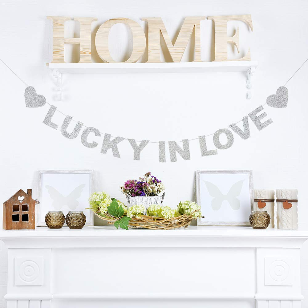 Lucky In Love Silver Glitter Theme Bunting Banner For Wedding Decor Bunting Photo Props Signs Garland Bridal Shower Party Creative Decorations.