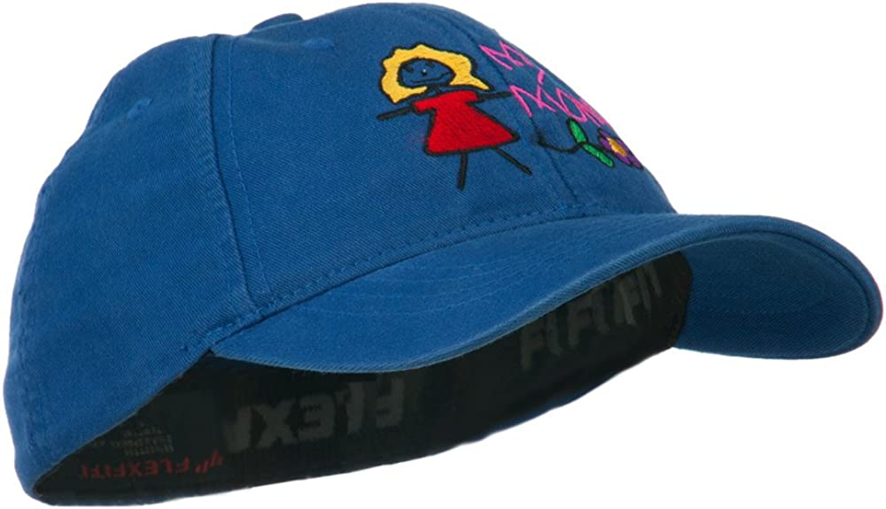 Youth My Mom with Flower Embroidered Flexfit Washed Cap