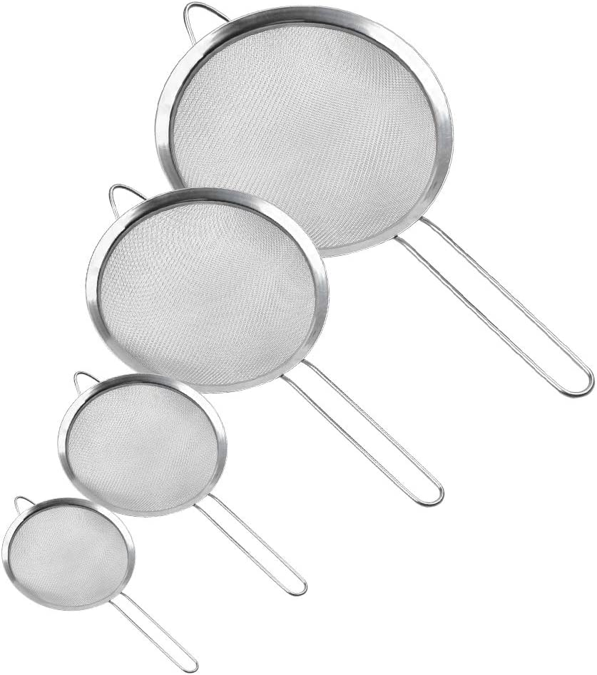 QLOUNI 4Pcs Premium Quality Fine Mesh Stainless Steel Strainers - 3