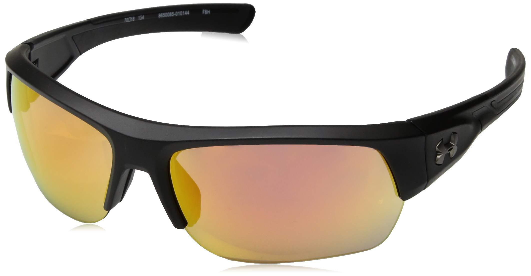 Under Armour Ua Big Shot Wrap Sunglasses, Black, 70 mm