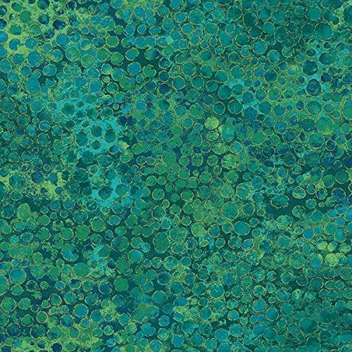 Teal Green Circles, Gold Metallic, Shimmer, Peacock, 20258M-63, Artisan Spirit, Northcott, by The (Teal Shimmer)