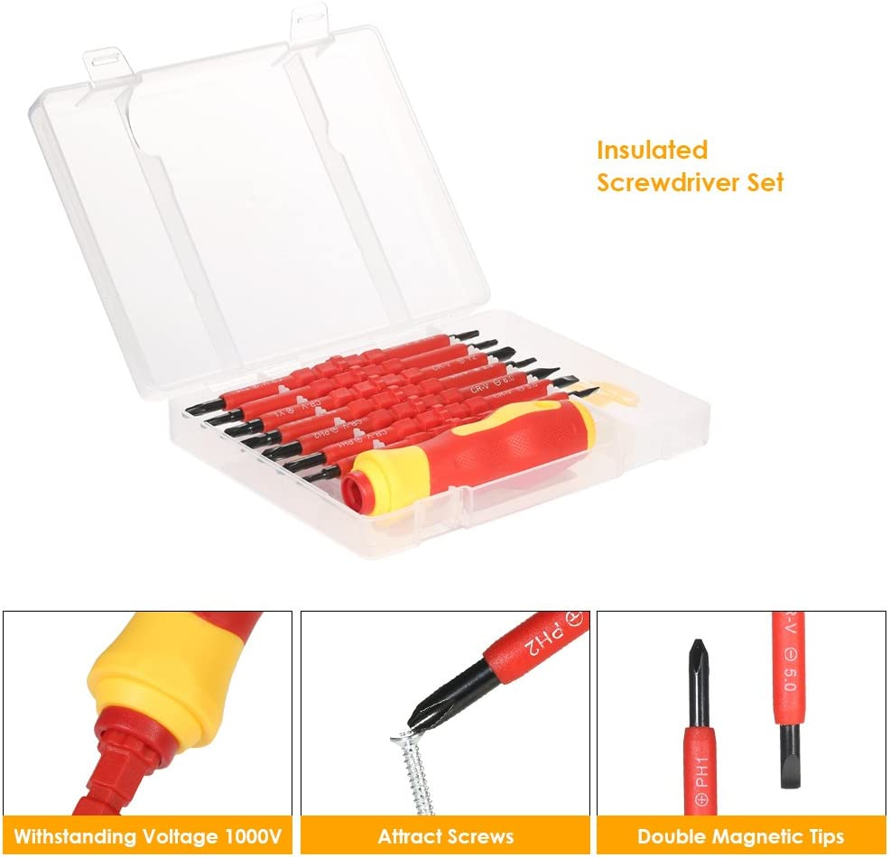 Roeam 7 in 1 1000V Changeable Insulated Screwdrivers Set with Magnetic Phillips and Slotted Bits Electrician Repair Tools Kit