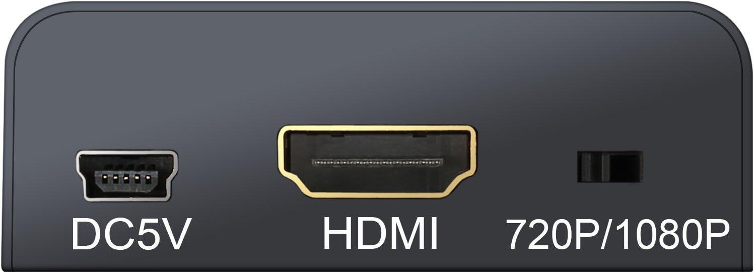VinTeam Mini AV a HDMI Conversor Convertidor Compuesto CVBS RCA a 1080P Audio Adaptador HDMI para Port/átil Xbox PS3 TV STB VHS VCR C/ámara Reproductores