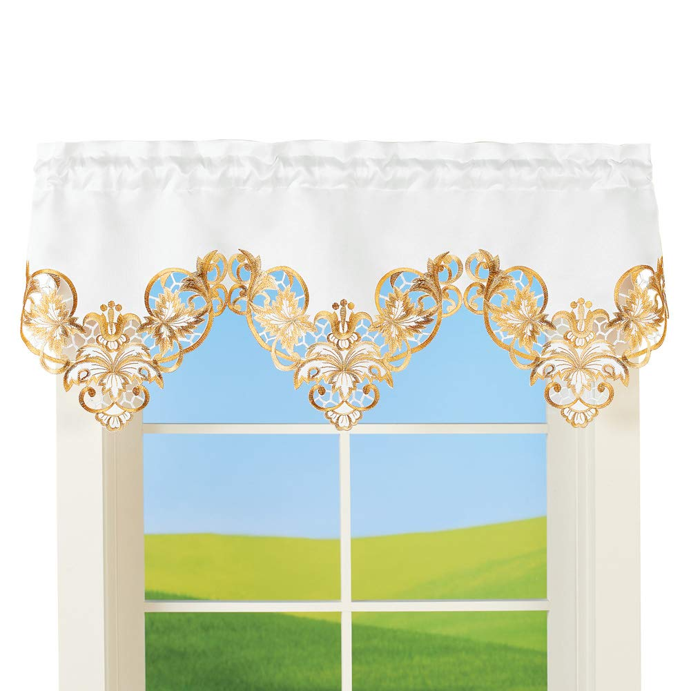 Collections Etc Fall Leaves and Lattice Cutout Window Valance with Scalloped Hemline - Perfect Anywhere in The Home
