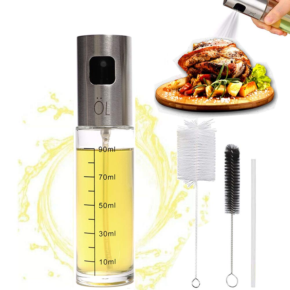Olive Oil Sprayer Mister Spritzer for Cooking Air Fryer Oil Dispenser Bottle with Bottle Brush and Replace Tube for Vinegar Soy Sauce Mini Kitchen Gadgets for BBQ,Making Salad, Baking, Grilling