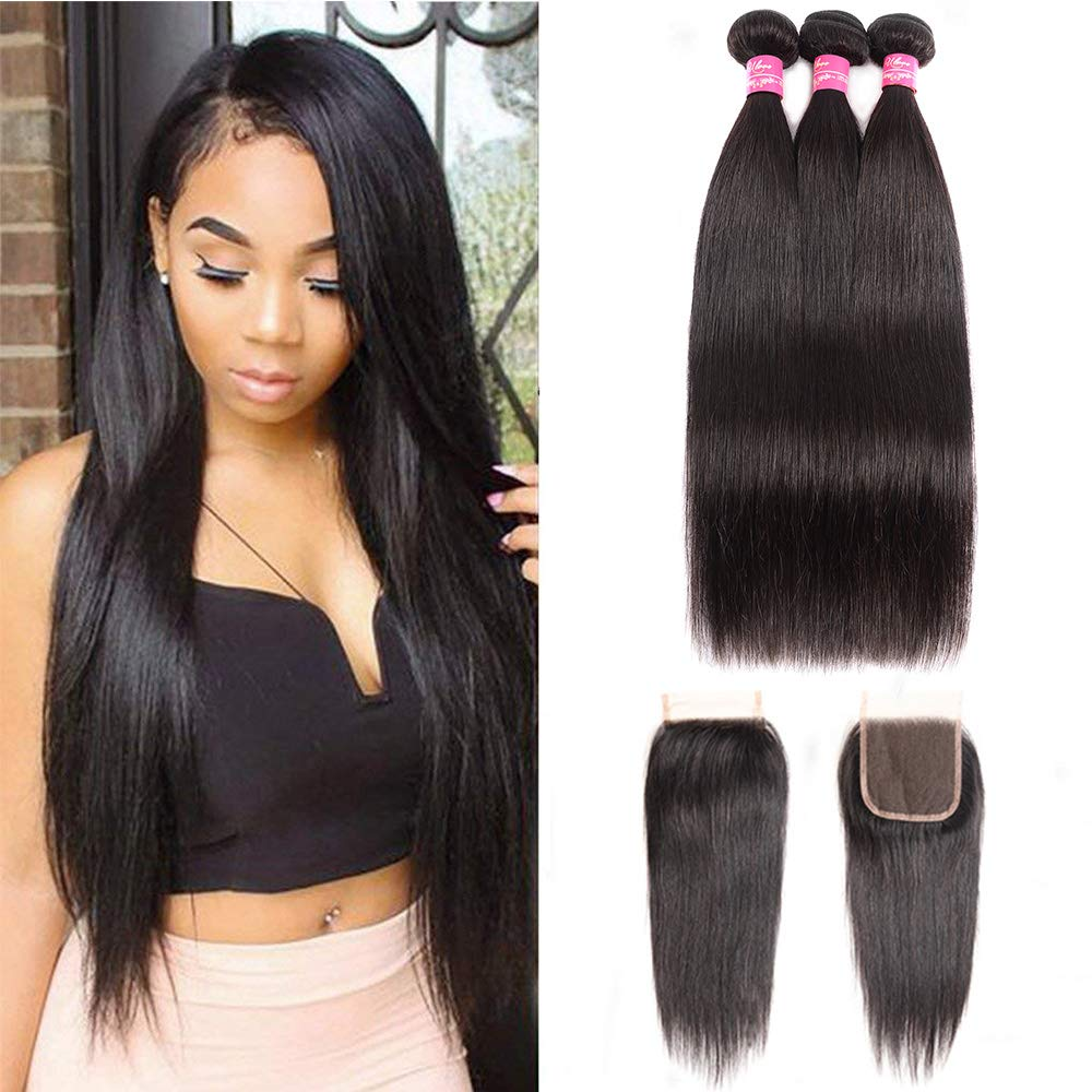 Amazon Brazilian Straight Hair With Closure 3 Bundles