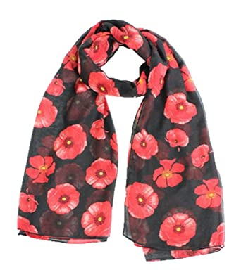 eeca0e88940ca Red Poppy Print Scarf on Black Wrap Ladies Floral Remembrance day MyMusu