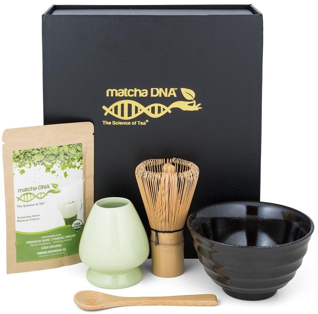 Matcha Tea Gift Set - Matcha Tea Ceremony Set by Matcha DNA (Black Matcha Gift Set) by MatchaDNA