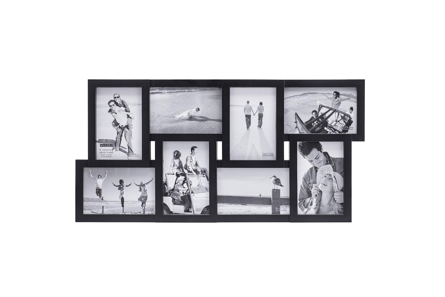 Malden 4x6 8-Opening Collage Matted Picture Frame - Displays Eight 4x6 Pictures - Black