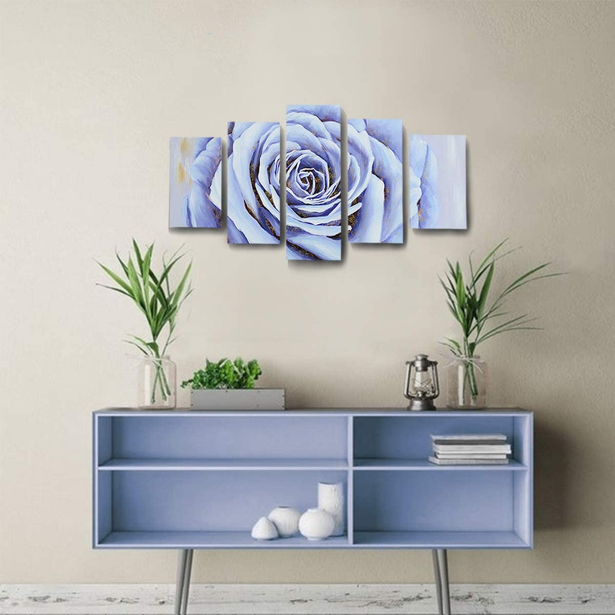 SDYA Large Canvas Wall Art Hand-Painted Painting Wall Art Decor Framed and Stretched 5 Panels Blue Rose Flower Canvas Artwork for Bathroom Living Room Office Hotel and Dining Room