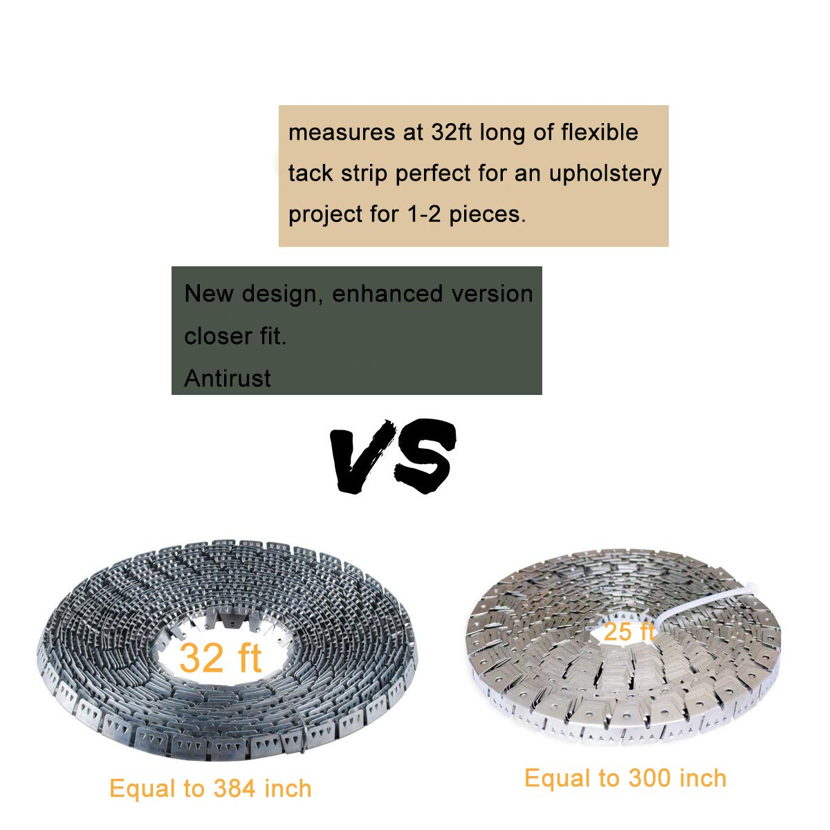 Flex-Grip, Curve Ease- 32 ft Flexible Metal Tack Strip Three-Tooth Upholstery by Wadoy (Image #5)
