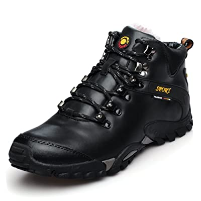 Trekking Hiking Boots Men Walking Leather Shoes Trail Outdoor Sport Mid Ankle Boot by GOMNEAR