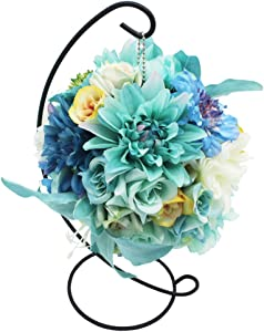 Lumiphire Artificial Flower Ball with Stand Home Decor for Mom Living Room Accessory Table Centerpiece Ornament Thank You Birthday Anniversary Lily Dahlia Roses 28cm Blue