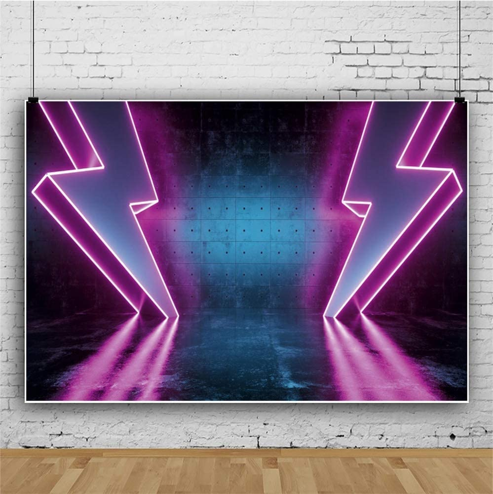 Spacecraft Interior Pink Lightning Neon Backdrop 10x8ft Vinyl Space Themed Photography Background Navigation Themed Party Birthday Banner Wallpaper Studio Photo Props