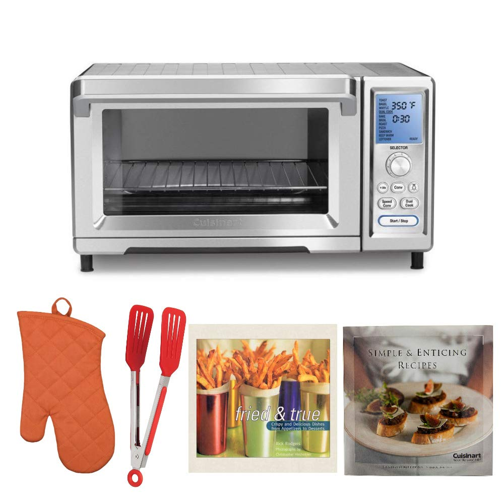 Cuisinart TOB-260N Chef039;s Convection Toaster Oven, Stainless Steel Includes Oven Mitt, Flipper Tongs and 2 Cookbooks (Certified Refurbished)