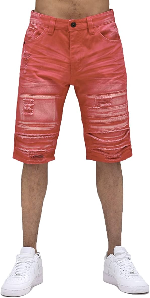 Smoke Rise Mens Bleached Twill Shorts With Pleated Knee