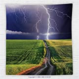 59 x 59 Inches Lake House Decor Fleece Throw Blanket Summer Storm about to Appear with Flash on the Field Solar Illumination Energy Decor Blanket