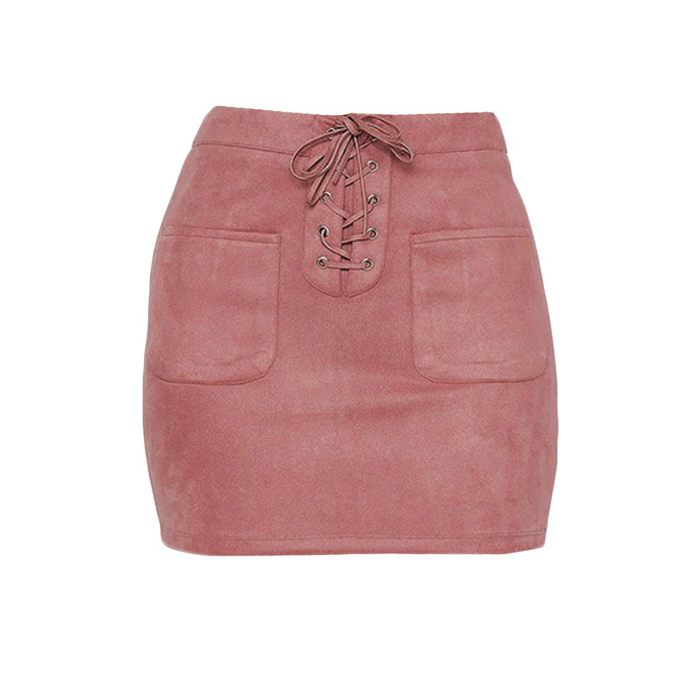 OVERMAL DRESS Fashion Women Casual Bandage Skirt High Waist Pink ...