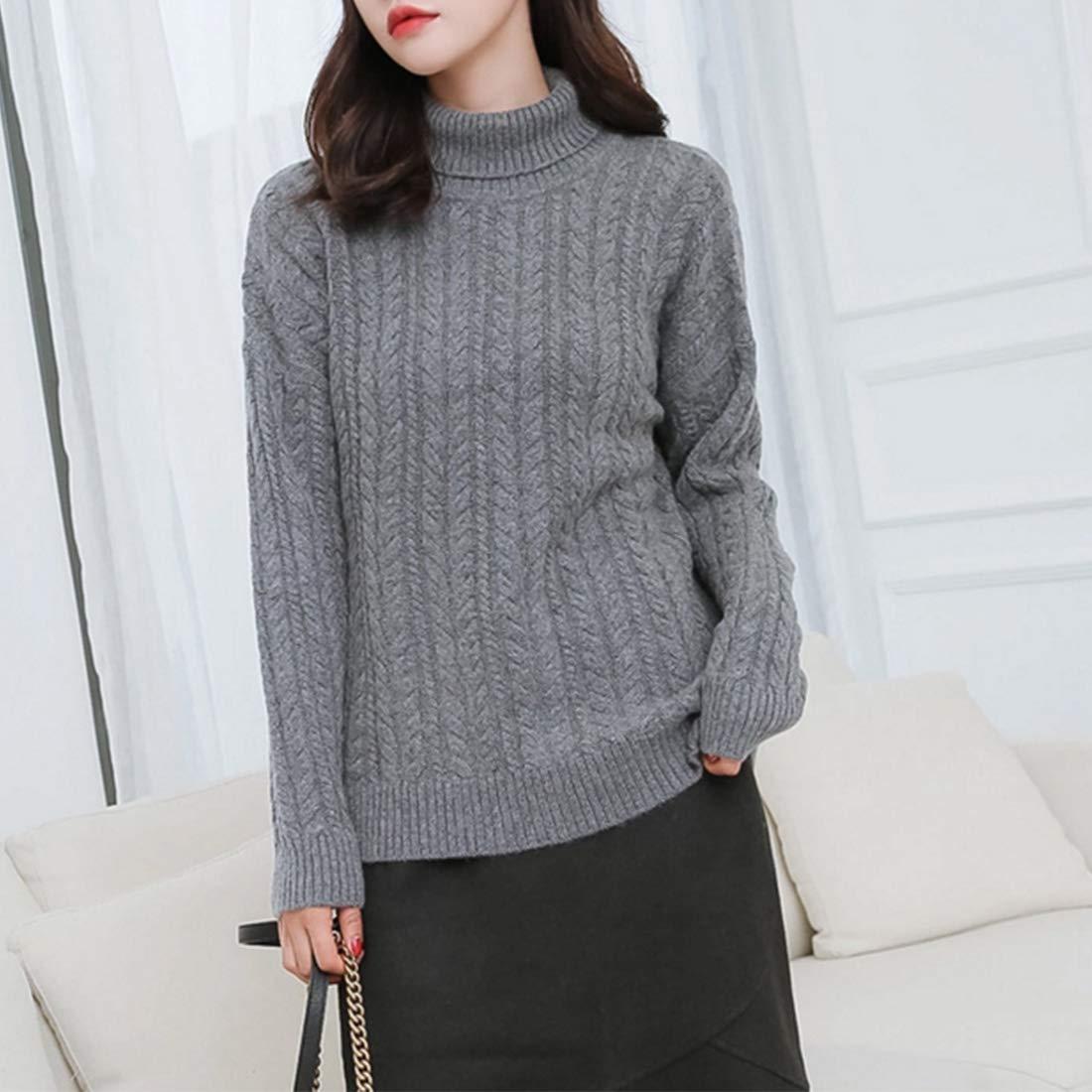 Color : Brown, Size : L Sugoishop Womens Cashmere Long Sleeve Turtleneck Sweater Keep Warm OL Feminine Size:M-XL