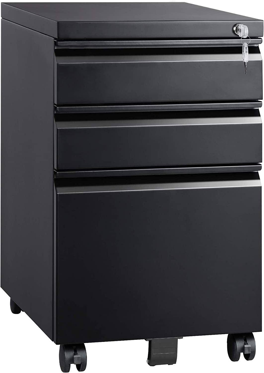 Devaise 3 Drawer Mobile File Cabinet With Lock Metal Filing Cabinet Legal Letter Size Fully Assembled Except Wheels Black Office Products