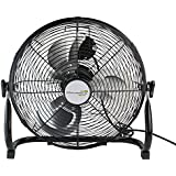 14 Jet Black Three Speed Adjustable Tilt Portable Floor Fan