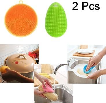 Lot de 2 /éponges en silicone 3 en 1 pour nettoyage de plat salle de bain cuisine