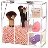 Aoert Acrylic Makeup Organizer with Pearl Clear Cosmetic Brush Holder Drawer Organizer with 3 Sponge Puff for Makeup Blender Sponge, Lipstick (Two Holder)