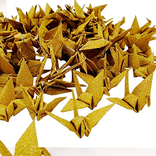 Hangnuo 100 PCS Origami Paper Cranes Glitter Gold, Folded DIY Japanese Crane Mobile String Garland for Wedding Party Backdrop Home Decoration