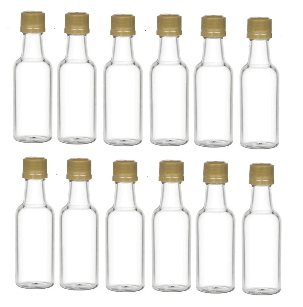 Amazon.com | Nakpunar 12 pcs 50 ml Plastic Liquor Bottles with Gold ...